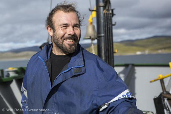 Francesco Pisanu on the Arctic Sunrise in Barents Sea
