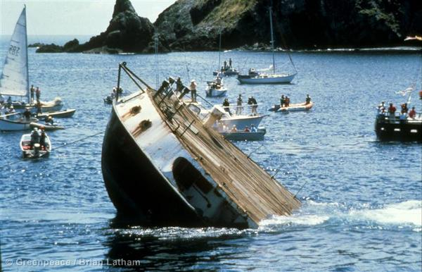 Rainbow Warrior sunk off New Zealand