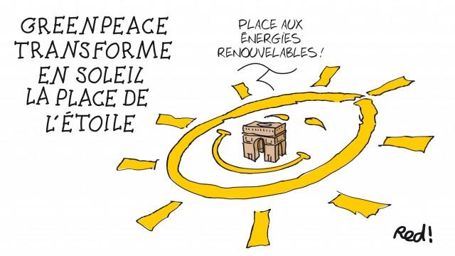 Grande action de Greenpeace pour les énergies renouvelables, avant la fermeture de la COP21 © Red / Cartooning for Peace