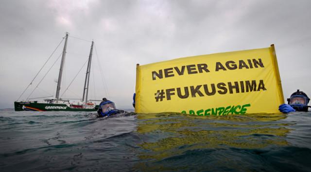 Action au large de Fukushima, mars 2016 © Gavin Newman / Greenpeace