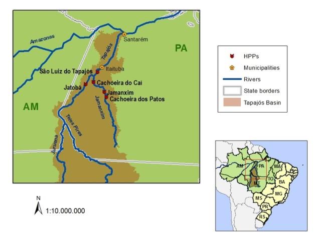 Carte de la rivière Tapajos