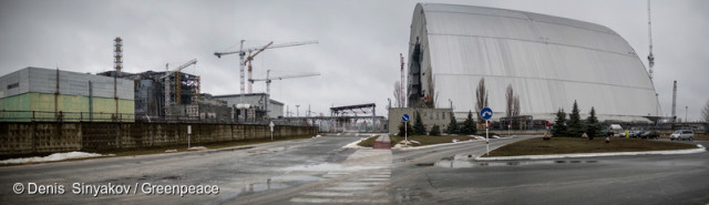 Panorama du site de Tchernobyl. Enceinte de confinement autour du réacteur de l'Unité 4 de la centrale. © Denis Sinyakov / Greenpeace