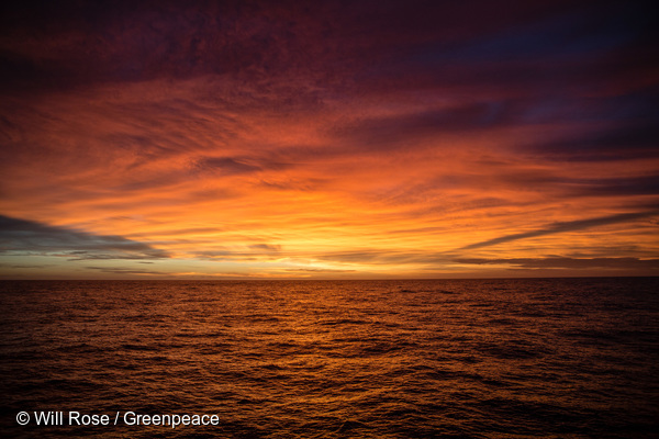 Sunset viewed from the Esperanza in the Indian Ocean