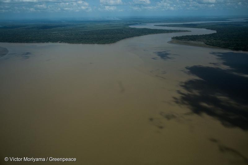 Vue aérienne de l'embouchure de l'Amazone. C'est au large de ces côtes que se situe le récif corallien découvert en 2016.