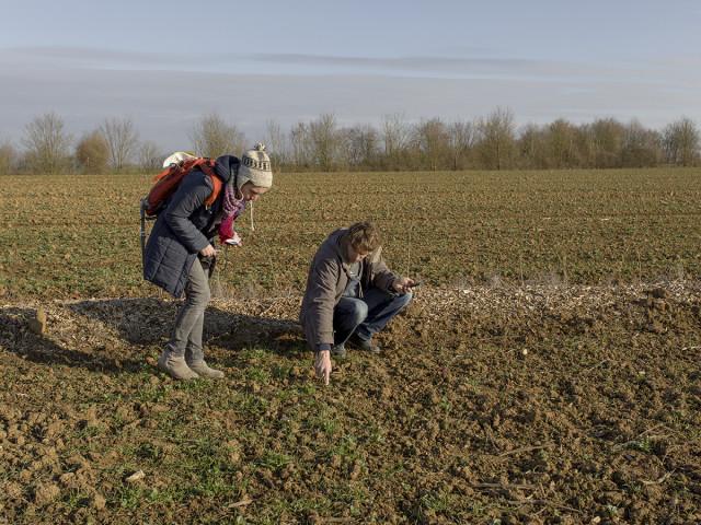 Giorgia et Raphaël examinent les semis du GAEC Ursule. © Théophile Trossat / Greenpeace