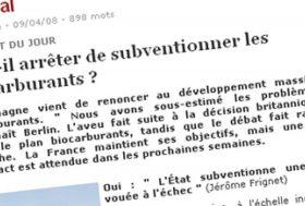La France doit revoir son soutien aux agrocarburants