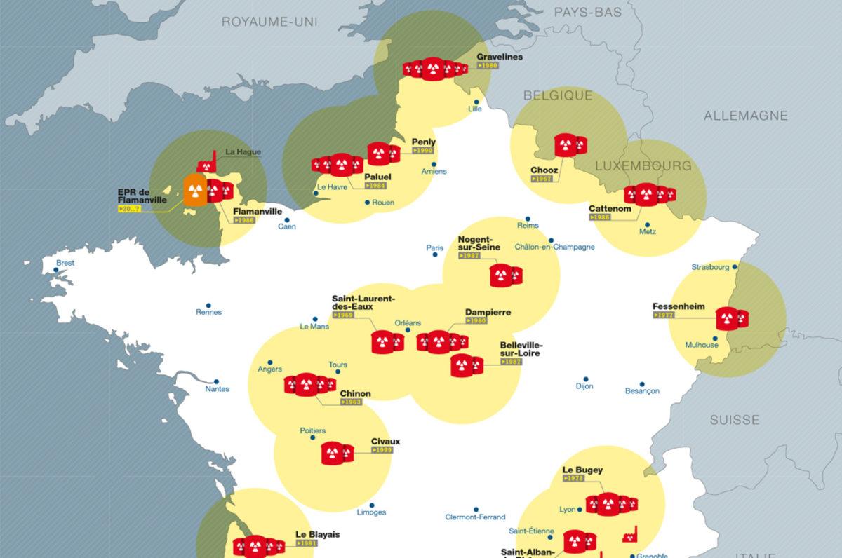 carte des centrales nucléaires en france 2020 CARTE] France – Les risques nucléaires d'EDF (2017)   Greenpeace