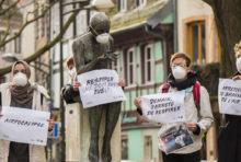 Des statues masquées à Strasbourg
