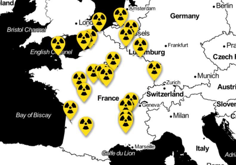Carte des risques nucléaires en France et chez les pays frontaliers