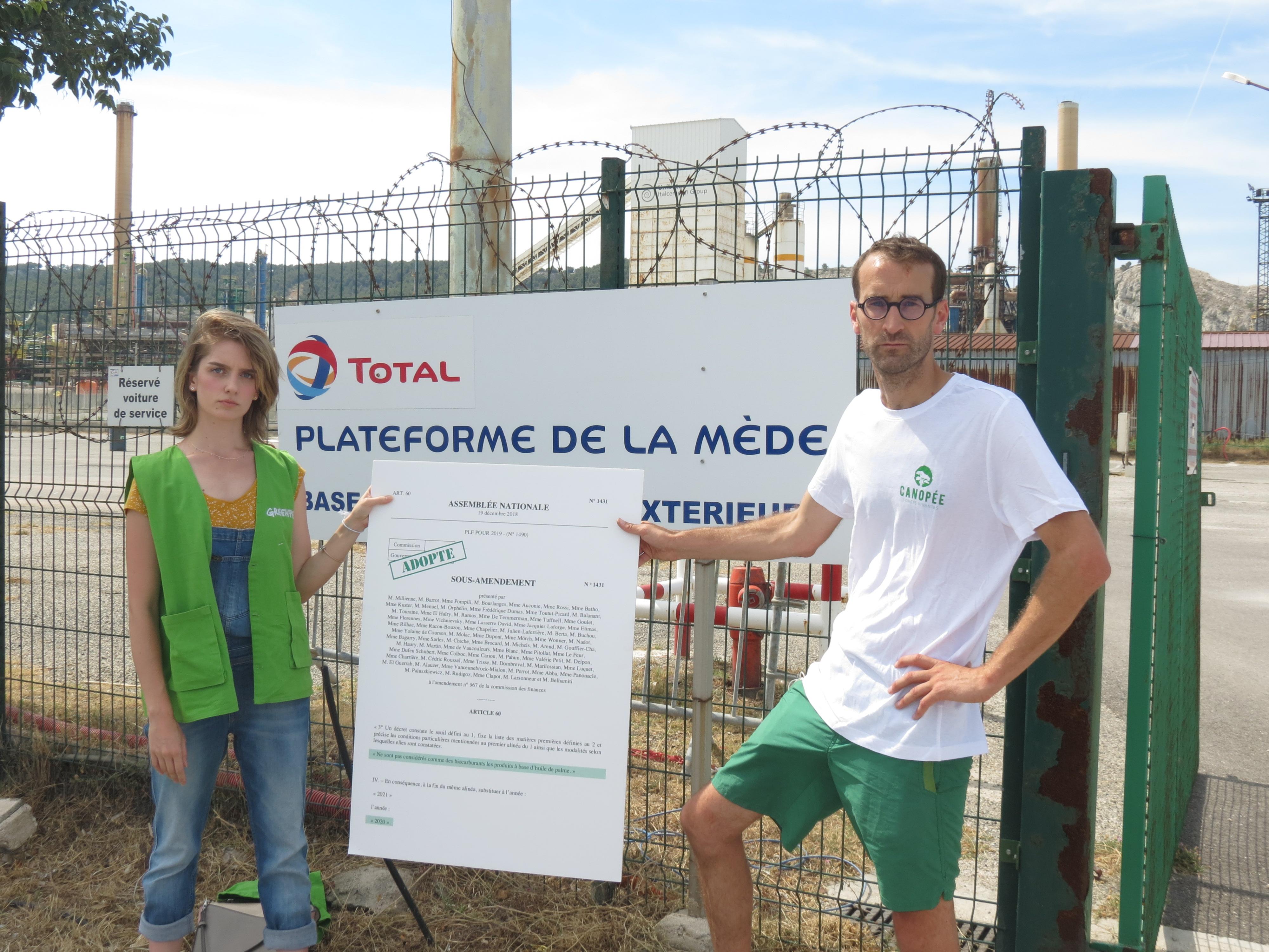Militants Greenpeace et Canopée chez Total