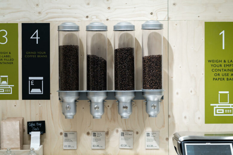 Coffee Beans in Dispensers. © Isabelle Rose Povey